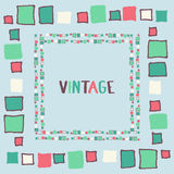 Decorative frame grunge cubes. Vector illustration. Decorative frame grunge cubes vintage. Vector illustration Stock Images