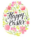 Decorative frame Happy Easter and floral elements. Easter eggs with ornaments in circle shape. Greeting card. Royalty Free Stock Photography