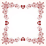 Decorative frame with hearts Stock Image