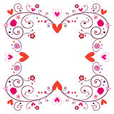 Decorative frame with hearts & flowers Royalty Free Stock Photos