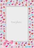 Decorative frame with hearts for photo. Scalable vector illustration