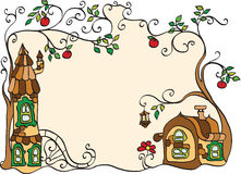 Decorative frame with houses and trees Royalty Free Stock Photos