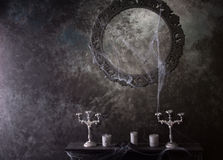 Decorative Frame and Mantle Covered in Cobwebs Royalty Free Stock Image