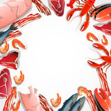 Decorative Frame From Meat And Seafood. Including poultry beef bacon fish crustaceans on white background vector illustration Stock Image