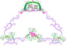 Decorative Frame with Mice in Love Royalty Free Stock Image