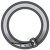 Decorative frame old leather belt with buckle Royalty Free Stock Image