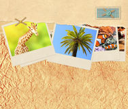 Decorative frame with old paper and travel photos Stock Photo