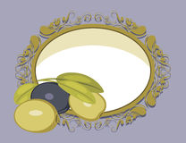 Decorative frame with olives Stock Photography