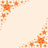 Decorative frame with orange cartoon starfishes, vector Stock Images