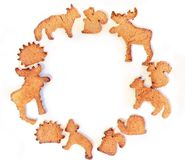 Frame of ginger cookies stock photos