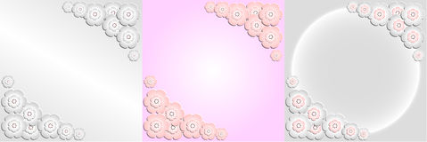 Decorative frame of paper flowers of sakura. Decorative flowers cherry pink and white imitating paper Royalty Free Stock Image