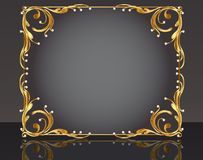 Decorative frame with pattern gold pearl Stock Photography