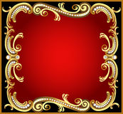 Decorative frame with pattern gold pearl Stock Photo