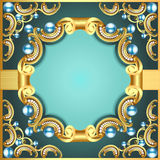 Decorative frame with pattern gold pearl Stock Image