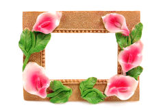 Decorative frame for a photo. Decorated with flowers Stock Image