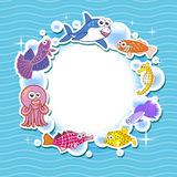 Decorative frame for photo with tropical bright fishes Stock Photo