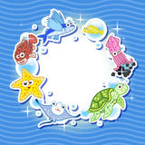 Decorative frame for photo with tropical bright fishes Stock Images