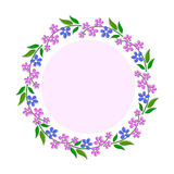 Decorative frame with pink and blue flowers. Vector illustration Royalty Free Stock Photography