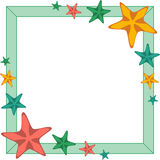 Decorative frame with red and orange cartoon starfishes, vector Royalty Free Stock Photos