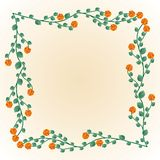 Decorative frame. With roses and leaves vector illustration
