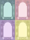 Decorative frame set. Decorative colorful stylized retro frame set. Vector illustration Stock Images