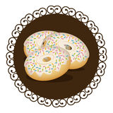 decorative frame with set donuts with strawberry glazed and colored sparks Royalty Free Stock Image