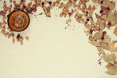 Decorative frame with spices and bowl Royalty Free Stock Photos