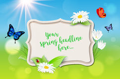 Decorative frame with spring background for your text Royalty Free Stock Photography