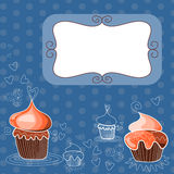Decorative frame with tasty cute cupcake Royalty Free Stock Image
