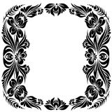 Decorative frame. Vector Black and white pattern with flowers, an ethnic Ukrainian ornament, Decorative frame for design Stock Photos