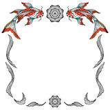 Decorative frame. Decorative vector frame made of hand drawn elements and koi fishes, isolated on white background Royalty Free Stock Photography