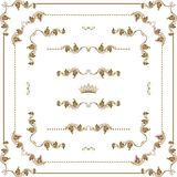 Decorative frame. Vector set of gold decorative horizontal floral elements, corners, borders, frame, dividers, crown.  Page decoration Royalty Free Stock Photo