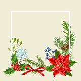 Decorative frame with winter plants. Merry Christmas holiday decoration. Forest branches background in vintage style Vector Illustration
