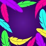 Decorative frame witn colorful feathers on dark purple background. Vector illustration royalty free illustration