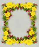 Decorative framer of green, yellow and white flowers. Decorative frame of green, yellow and white flowers on gray paper background. Flat lay, top view Stock Photos