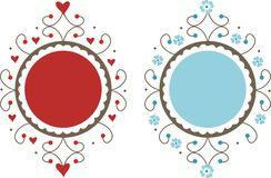 Decorative frames. Two decorative frames with hearts and flowers Royalty Free Illustration