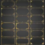 Decorative rectangle frames and borders set vector gold Royalty Free Stock Photo