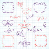 Decorative frames and calligraphic doodle Stock Photo