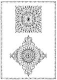 Decorative frames for cards, wedding invitations, menus, tattoo. Dotwork graphics, floral ornaments vector illustration