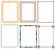 Decorative frames with floral and different patterns Royalty Free Stock Photos
