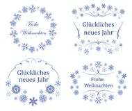 Decorative frames on german - vector decorations for christmas Stock Illustration
