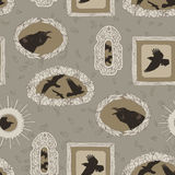 Decorative frames with portraits of crows Stock Photography