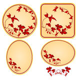 Decorative frames with red floral pattern vector Stock Images