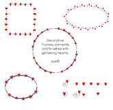Decorative frames with red glittering hearts Stock Images