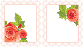 Decorative frames with red roses Stock Photography