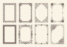 Decorative Frames Set of Curved Graphic Ornament. Decorative frames collection of curved graphic ornamental elements of black wavy lines in corners vector Royalty Free Stock Photos