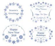 Decorative frames with snowflakes - vector decorations for xmas. Decorative frames with snowflakes - vector decorations for christmas Royalty Free Stock Photography