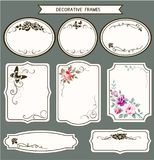 Vector set of vintage tags and frames for scrapbooking and wedding invitation. Decorative design elements Royalty Free Stock Photography