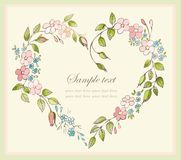 Decorative framework with flowers. Hand drawn valentines day greeting card. Decorative heart Stock Photos