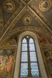 Decorative frescoes in Florence, Italy. Decorative frescoes in the old Officina Farmaceutica in Florence, Italy. View of the vault and gods, saints stock photo
